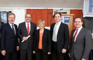 MdL Jan Ahlers, Lars Schäkel, Kultusministerin Frauke Heiligenstadt, MdB Maik Beermann, MdL Grant Hendrik Tonne